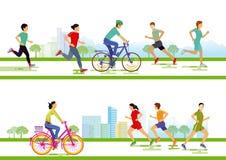 Biegacze i cykliści Obraz Stock