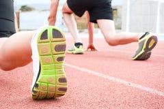 Biegacze na początku bieg śladu Zdjęcia Stock
