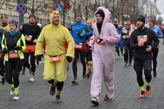 Biegacze na tradycyjnej Vilnius bożych narodzeń rasie zdjęcie royalty free