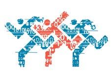 Biegacze z binarnymi kodami Obrazy Royalty Free
