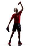 Biegaczów joggers pije sylwetki Zdjęcie Stock