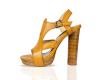 Biege summer female shoes isolated on white backgr Royalty Free Stock Images