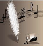 Biege symphony. On a beige background music writing white feather pen and the inverted bottle with ink Royalty Free Stock Photography
