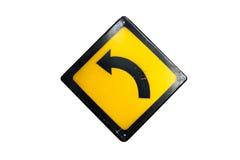 Biegen Zeichen wird lokalisiert auf weißem Hintergrund nach links ab lizenzfreie stockbilder