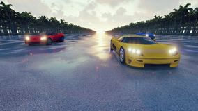 Biegowi sportów samochody przy zmierzchem w zwrotnikach świadczenia 3 d ilustracji
