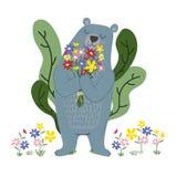 Biegunowy błękita niedźwiedź trzyma kwiaty w ogródzie royalty ilustracja