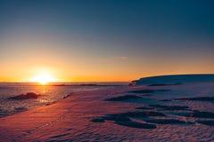 Biegunowy wschodu słońca zmierzch w Antarctica zdjęcie royalty free