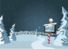 Biegunu Północnego znak z śnieżnym tłem ilustracji