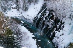 Biei, Hokkaido, Japan. Shirahige Waterfall, Biei, Hokkaido, Japan in winter stock image