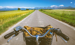 Biei Patchwork road cycling tour through the hills and barley field Royalty Free Stock Images