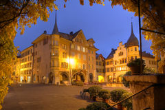 Biel/Bienne at night, Switzerland. Night scene of Ring Square in the old town of Biel (Bienne) in Switzerland. The fairytale-like houses lining the square as Royalty Free Stock Image