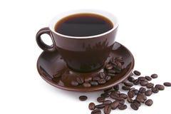 biel ceramicznego coffe gorący kubek nad biel fotografia stock