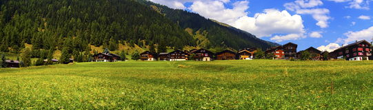 Biel chalets in summer, Berne canton, Switzerland Stock Image