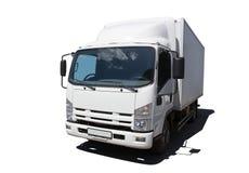 Biel ciężarówka ja odizolowywa zdjęcia stock