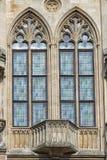 Bielący szklany okno w miasto administraci Erfurt Obrazy Royalty Free