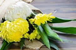 Biel i żółty kwiatu bukiet na stole Zdjęcia Stock