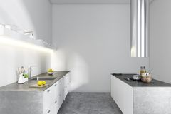 Biel i metalu kuchenny wnętrze, boczny widok royalty ilustracja