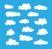Biel ikony ob?oczny set Wektorowi mieszkanie znaki Niebo Cloudscape Odosobneni przedmioty royalty ilustracja