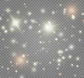 Biel iskrzy i złote gwiazdy połyskują specjalnego lekkiego skutek Magia błyska na przejrzystym tle ilustracja wektor