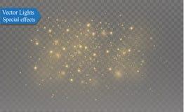 Biel iskrzy i złote gwiazdy połyskują specjalnego lekkiego skutek Wektor błyska na przejrzystym tle Boże Narodzenia Fotografia Royalty Free