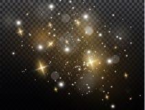 Biel iskrzy i złote gwiazdy połyskują specjalnego lekkiego skutek Wektor błyska na przejrzystym tle Boże Narodzenia Fotografia Stock