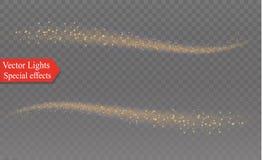 Biel iskrzy i złote gwiazdy połyskują specjalnego lekkiego skutek Wektor błyska na przejrzystym tle Boże Narodzenia Zdjęcie Royalty Free