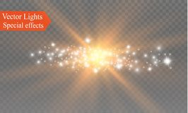 Biel iskrzy i złote gwiazdy połyskują specjalnego lekkiego skutek Wektor błyska na przejrzystym tle Boże Narodzenia Obraz Stock