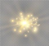 Biel iskrzy i złote gwiazdy połyskują specjalnego lekkiego skutek Wektor błyska na przejrzystym tle Boże Narodzenia Zdjęcia Stock