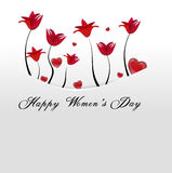 Biel karta, kieszeń z czerwień kwiatami i serca, chowaliśmy daleko od Zdjęcie Stock