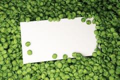 Biel karta na zielonych kawowych fasolach ilustracja wektor