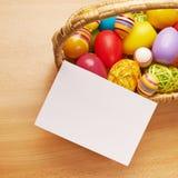 Biel karta obok kosza jajka Zdjęcie Stock