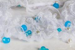 Biel koronka z koralikami Zdjęcia Royalty Free
