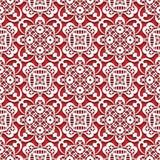 Biel koronkowa tekstura na czerwieni, bezszwowy koronka wzór Fotografia Stock