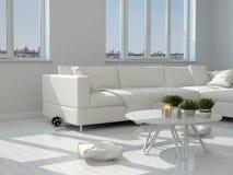 Biel krzesła przy Nowożytnym Żywym pokojem i stół ilustracja wektor