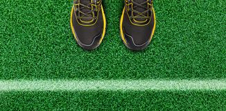 Biel lampasy i mężczyzna but na trawy podłoga obrazy stock