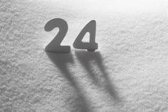 Biel liczba 24 Na śniegu Zdjęcia Stock