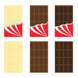 Biel, mleko, ciemny czekoladowego baru ikony set Rozpieczętowana czerwona opakunkowego papieru folia Smakowity słodki deserowy je ilustracja wektor
