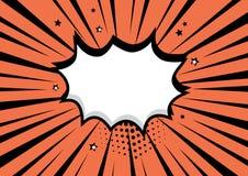 Biel mowy pusty komiczny bąbel na pomarańczowym tle Wektorowa ilustracja w wystrza? sztuki stylu ilustracji