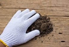 Biel ogrodowe rękawiczki a z ziemią Zdjęcia Royalty Free