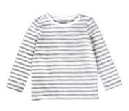 Biel pasków dziecka ` s popielata koszula odizolowywająca Zdjęcia Royalty Free