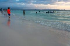 Biel plaża w wieczór, Boracay, Filipiny Zdjęcia Royalty Free