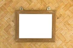 Biel przestrzeni obrazek w bambus ramie w bambus wyplatać ścianach Zdjęcia Stock