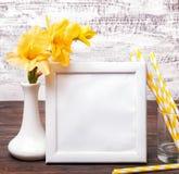 Biel pusta rama z miejscem dla teksta na stołów wi lub obrazek Fotografia Stock
