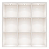 Biel puste pudełkowate półki z punktu światłem odizolowywającym na białym tle Obraz Stock