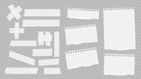 Biel rozdzierający notatnik, copybook ciąć na arkusze, kleista, adhezyjna taśma wtykająca na popielatym kropkowanym wzorze, Obrazy Stock