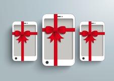 3 biel Smartphone Gibbon Czerwony prezent Fotografia Stock