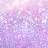 Biel srebni i różowi abstrakcjonistyczni bokeh światła defocused tło Fotografia Stock