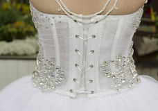 Biel suknia panna młoda - widok od plecy z sznurowaniem Zdjęcia Stock