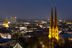 Bielefeld germany cityscape in the evening Royalty Free Stock Photos