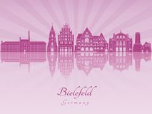 Bielefeld skyline in purple radiant orchid Royalty Free Stock Images